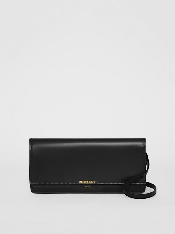 Horseferry Print Leather Wallet with Detachable Strap in Black