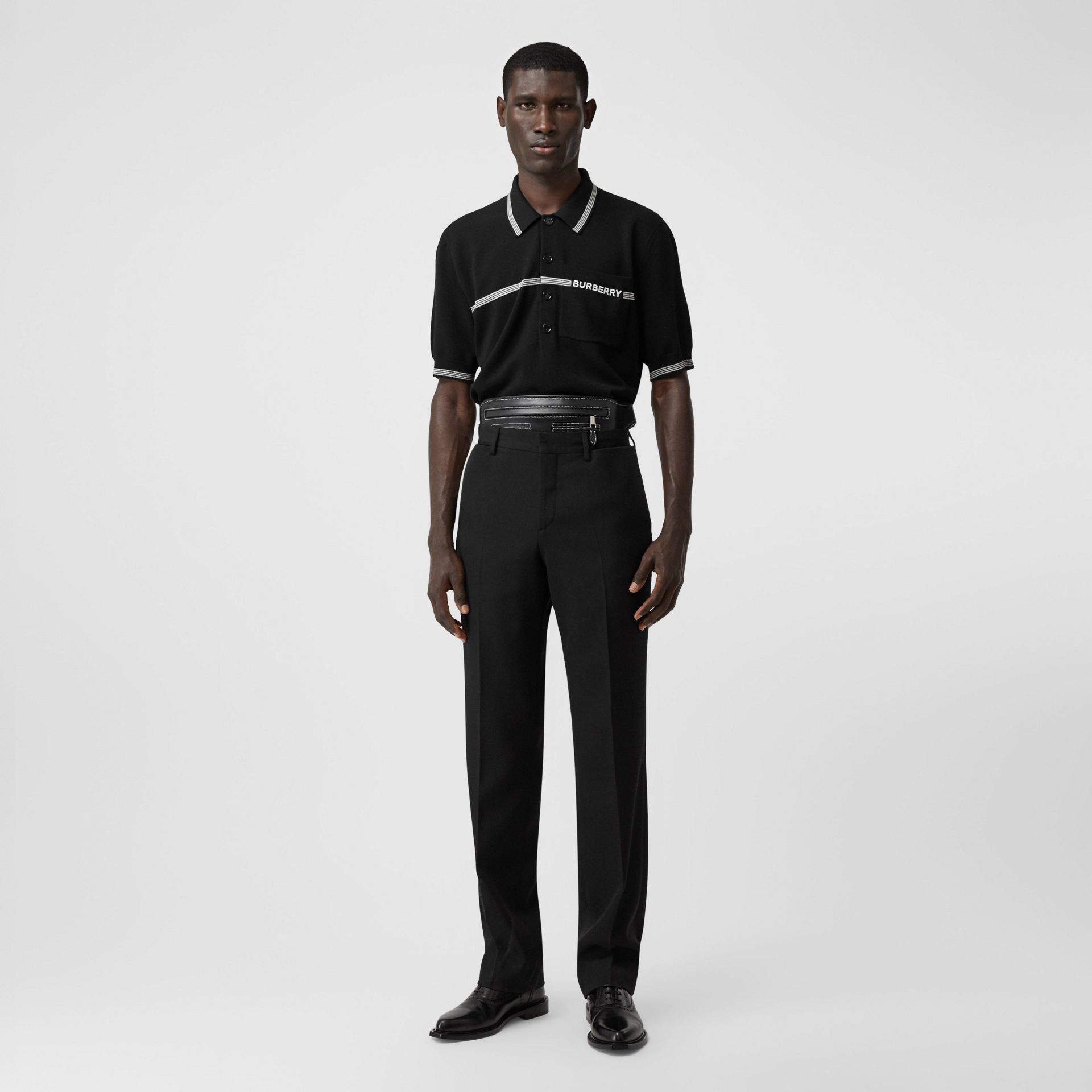 English Fit Pocket Detail Wool Tailored Trousers in Black | Burberry - gallery image 0