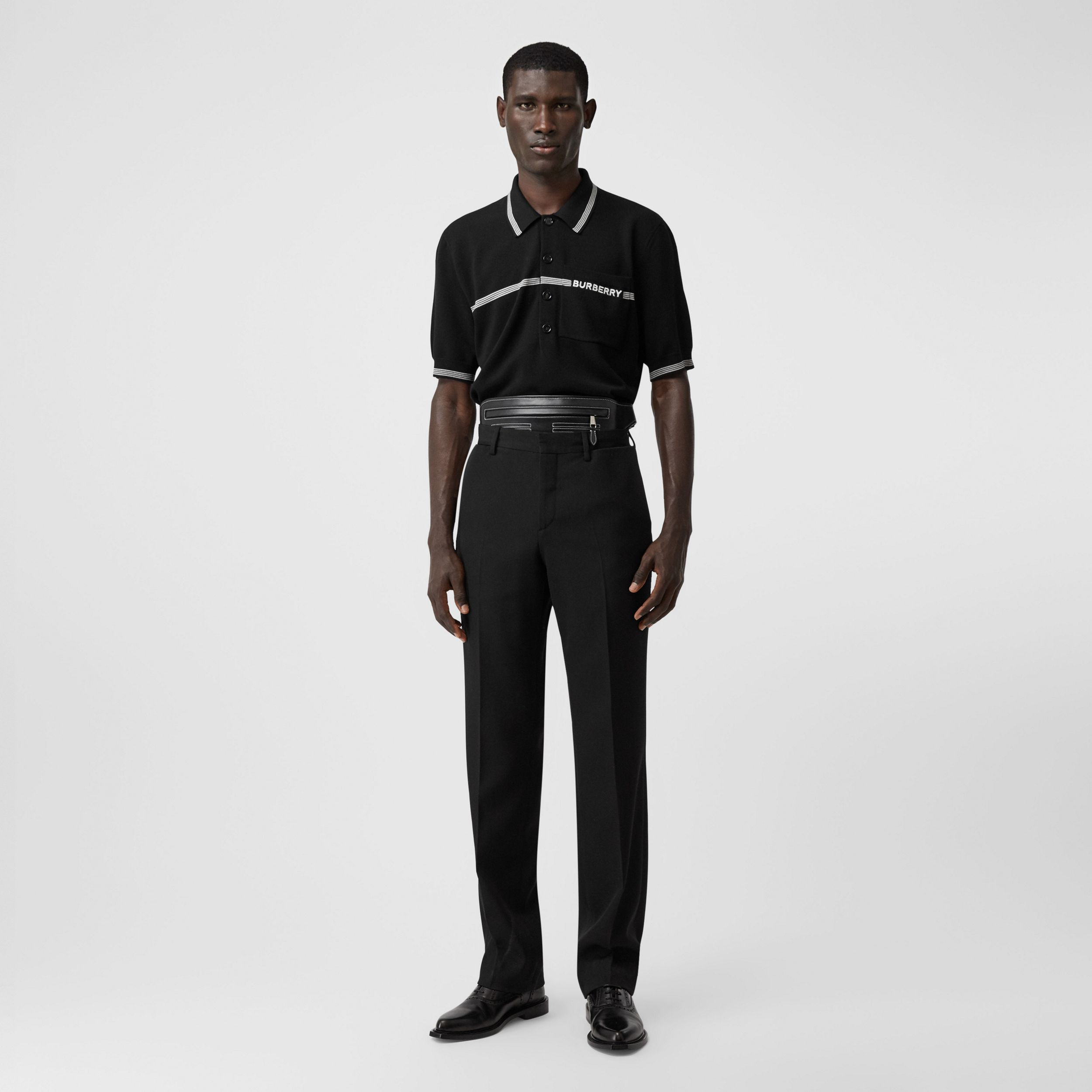 English Fit Pocket Detail Wool Tailored Trousers in Black - Men | Burberry - 1