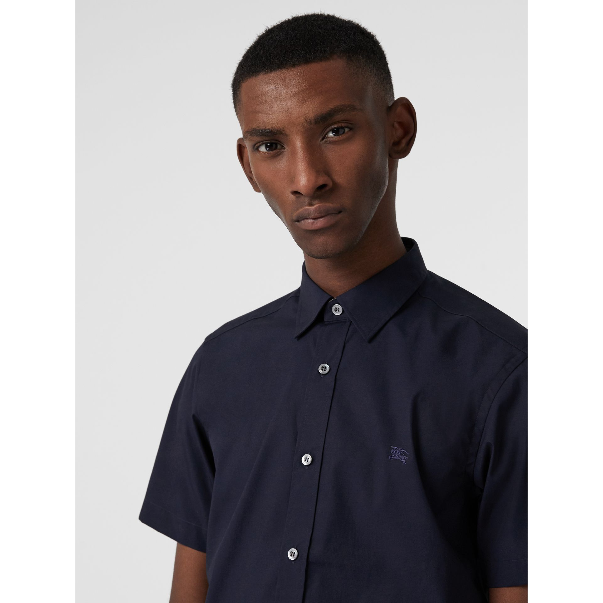 Short-sleeve Stretch Cotton Shirt in Navy - Men | Burberry United Kingdom - gallery image 1