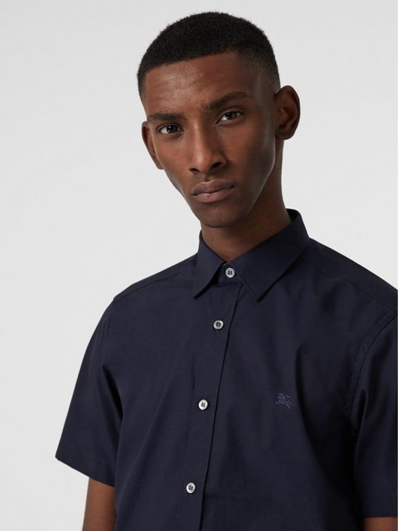 Camicia a maniche corte in cotone stretch (Navy) - Uomo | Burberry - cell image 1