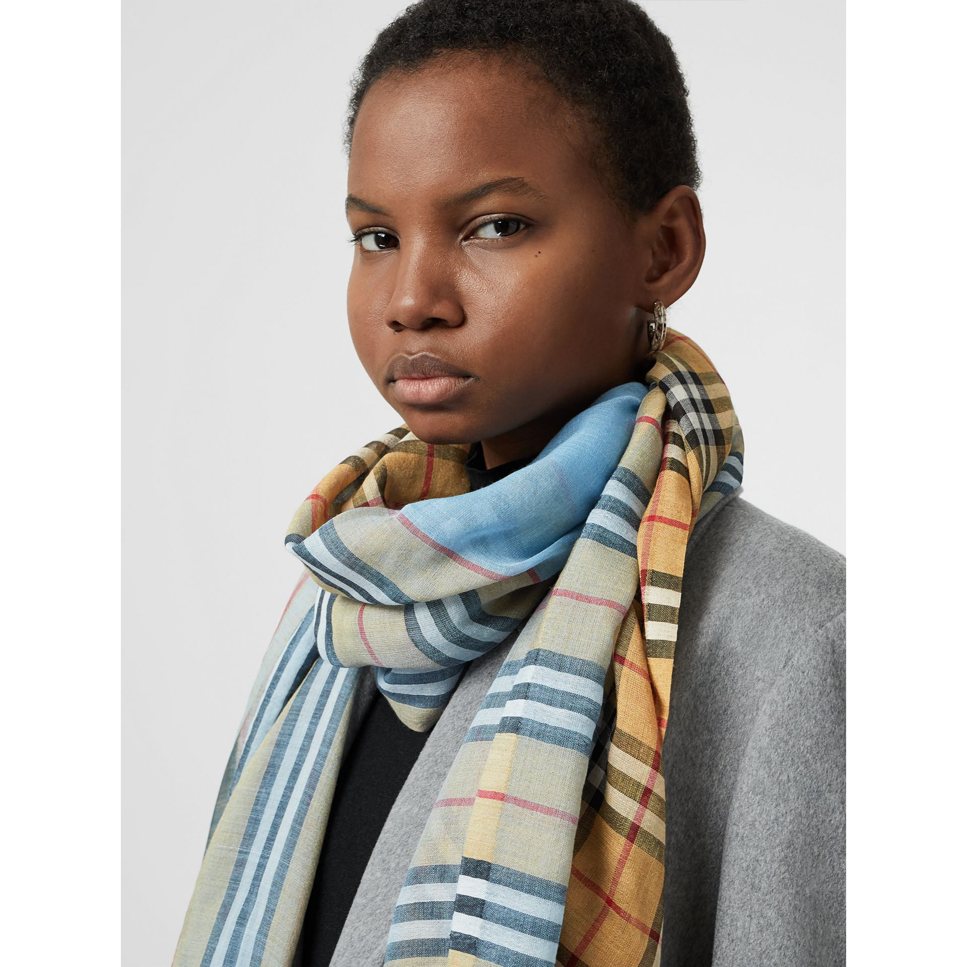 Vintage Check and Colour Block Wool Silk Scarf in Pale Blue Carbon | Burberry Canada - gallery image 5