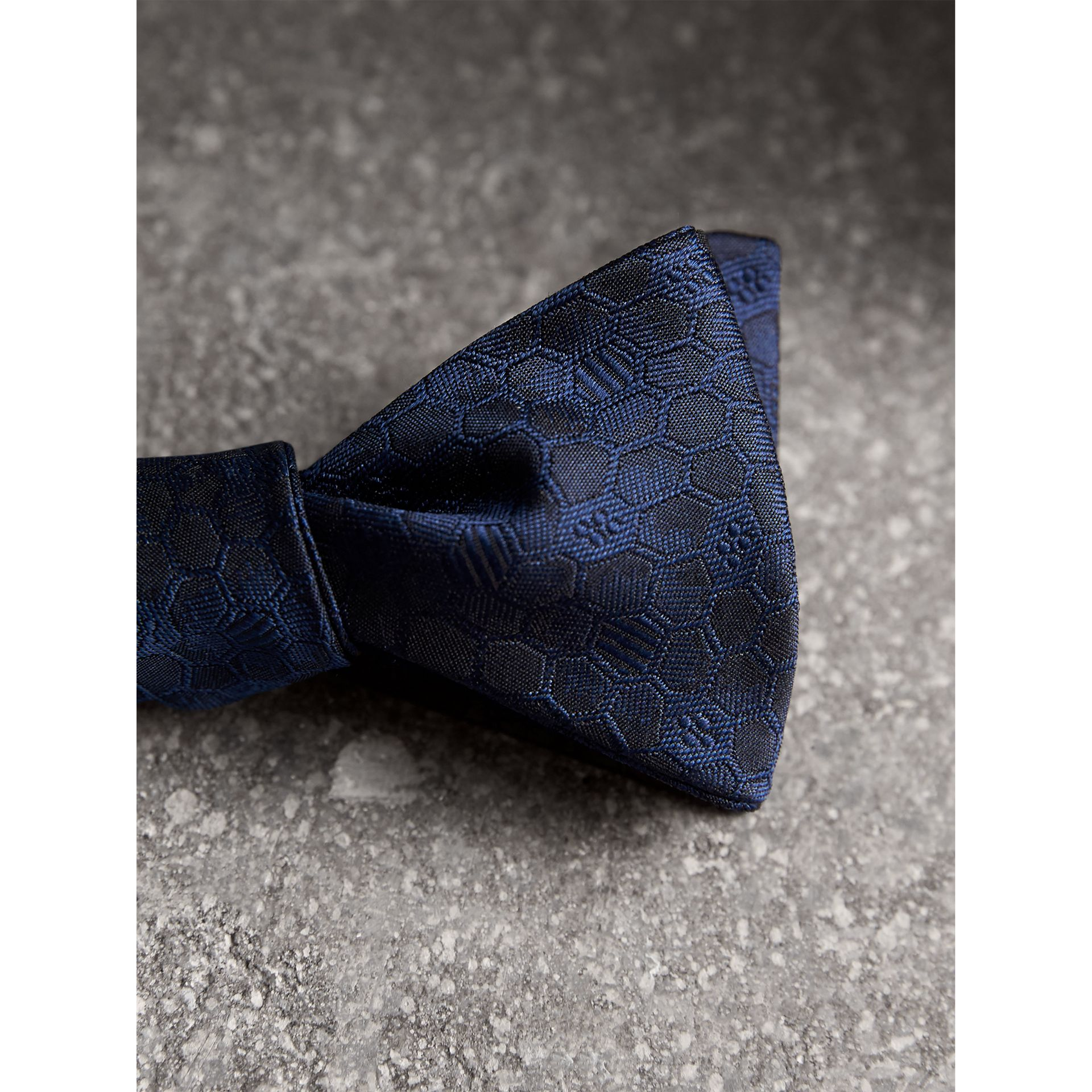 Geometric Silk Jacquard Bow Tie in Navy - Men | Burberry - gallery image 1