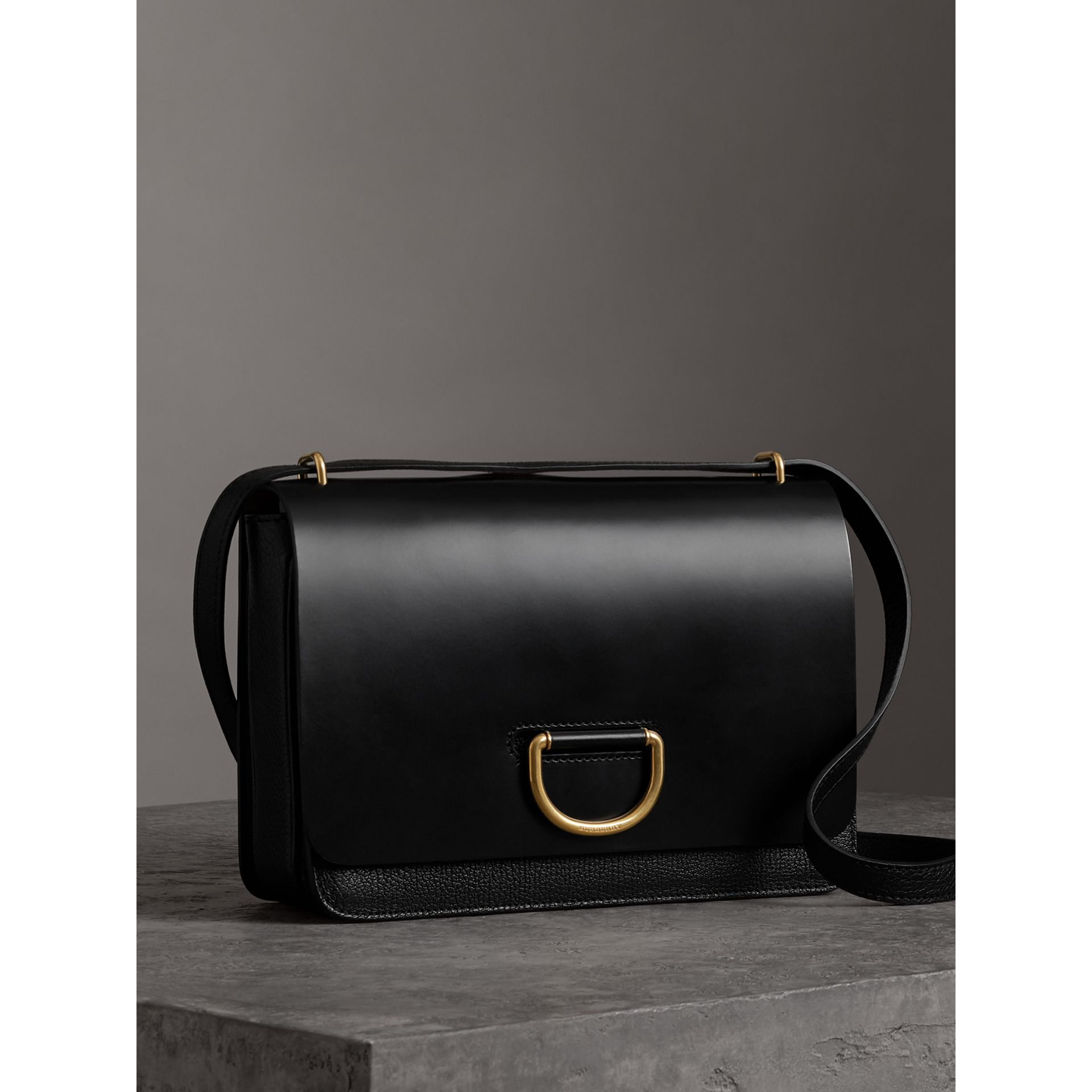 The Medium Leather D-ring Bag in Black - Women | Burberry United States - gallery image 7
