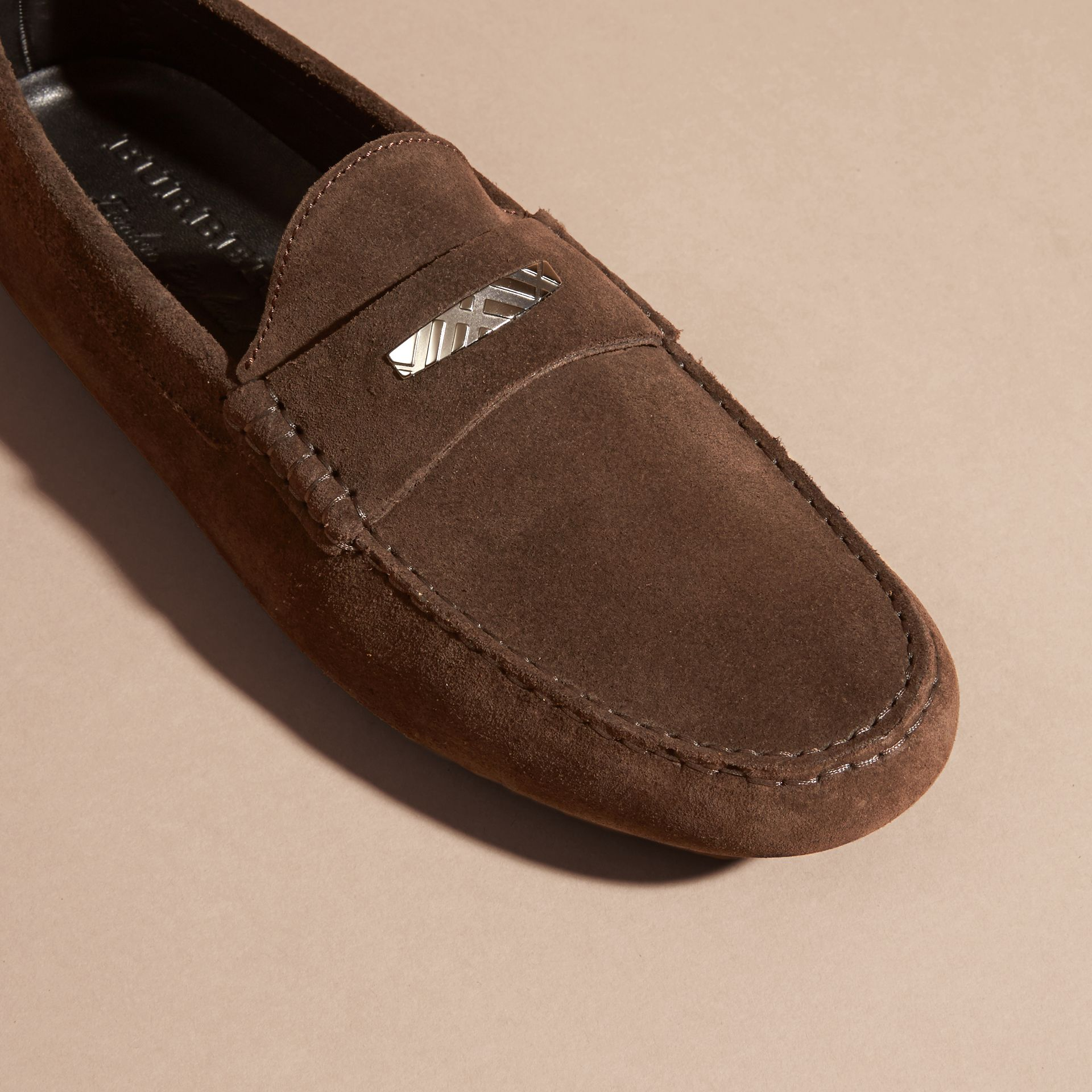 Suede Loafers with Engraved Check Detail Peat Brown - gallery image 2