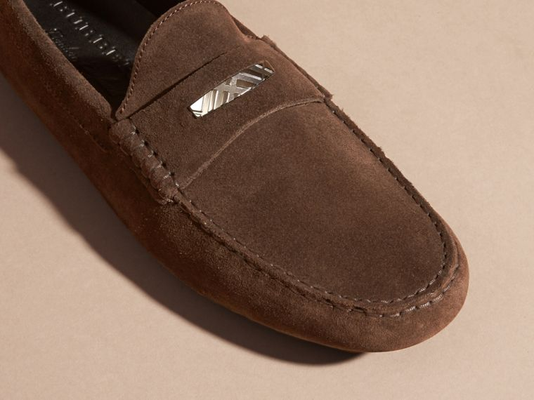 Suede Loafers with Engraved Check Detail Peat Brown - cell image 1