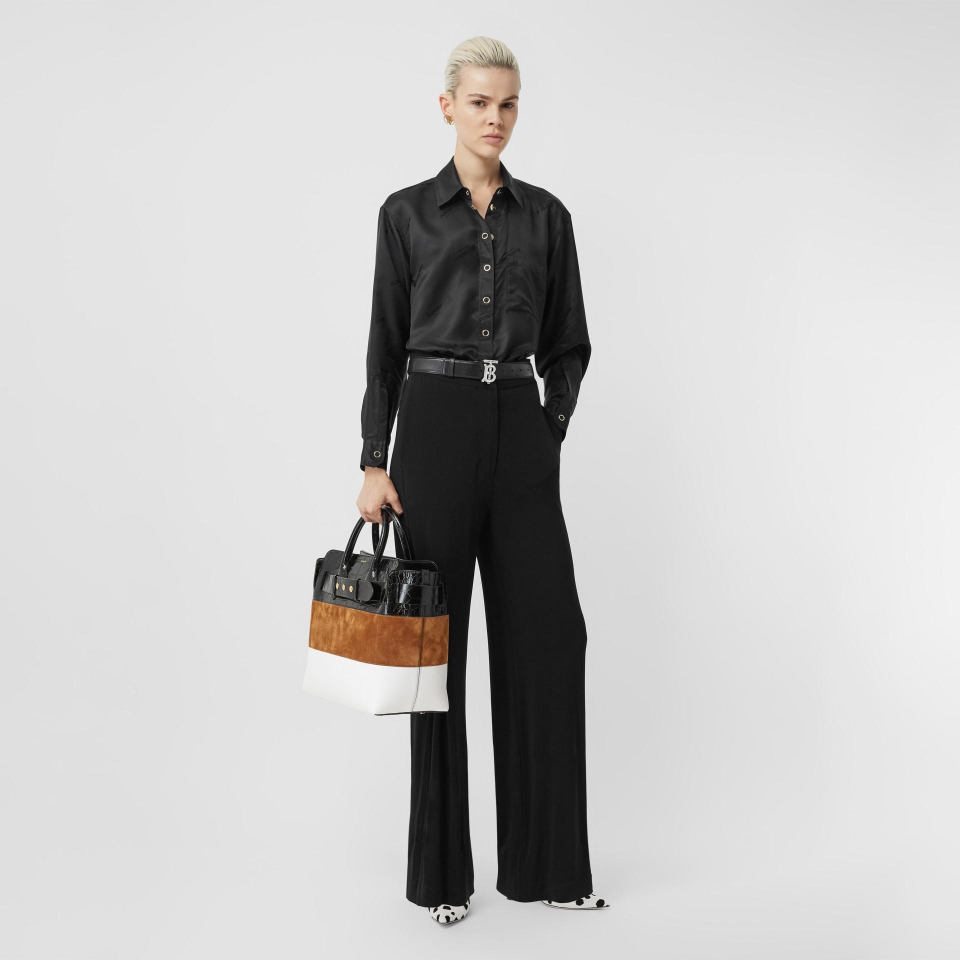 Logo Jacquard Shirt in Black - Women | Burberry - gallery image 4