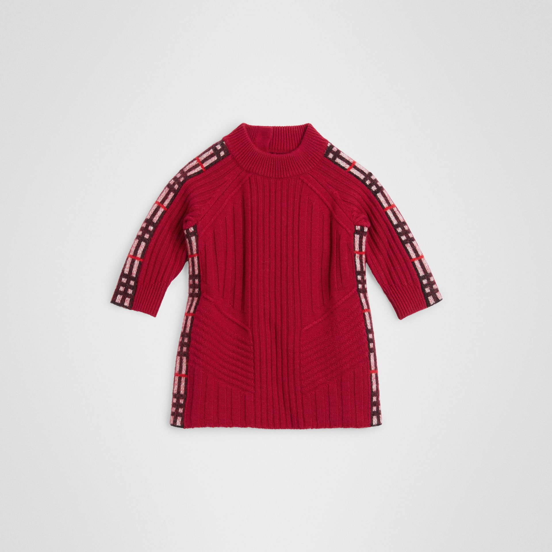 Check Detail Wool Cashmere Dress in Burgundy Red - Children | Burberry United Kingdom - gallery image 0