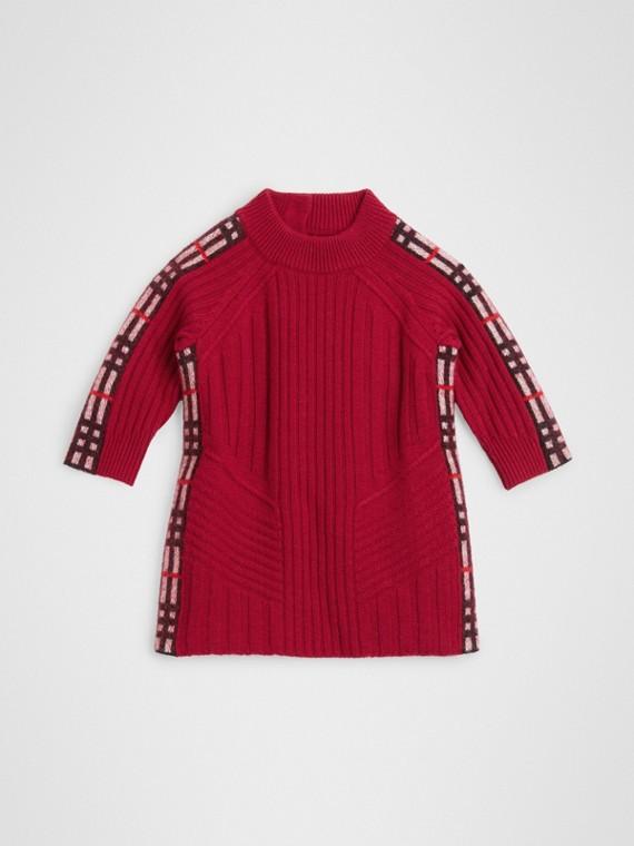 格紋細節設計羊毛喀什米爾洋裝 (酒紅色)