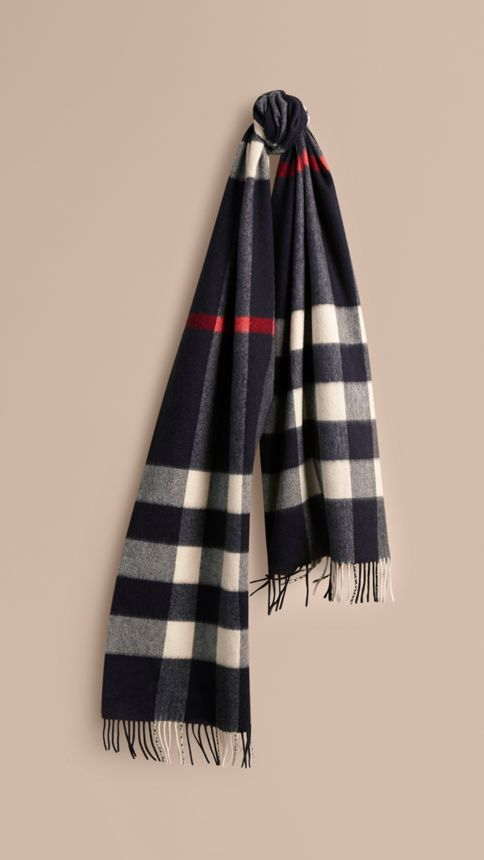 Giant Exploded Check Cashmere Scarf - Image 1