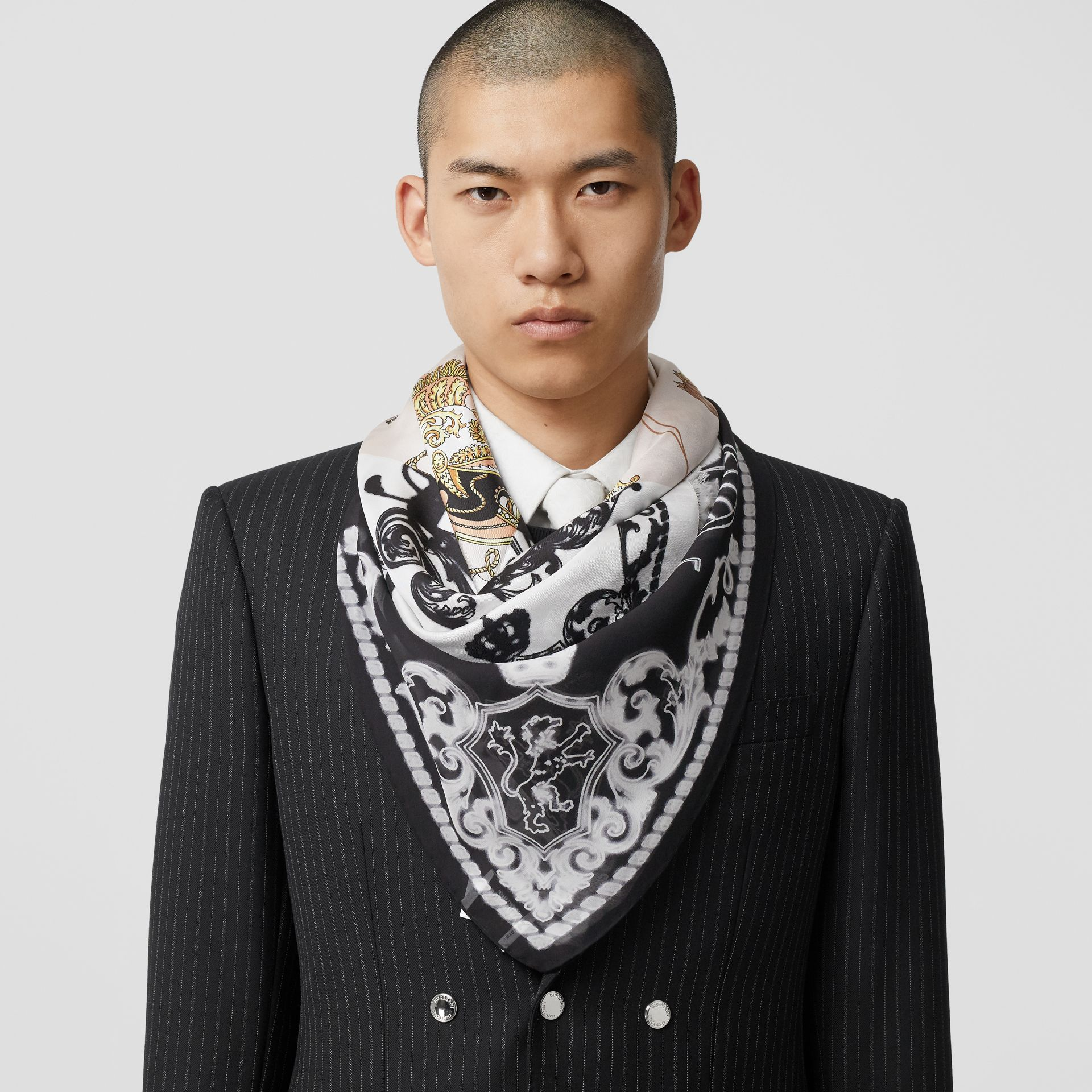 Archive Scarf Print Silk Large Square Scarf in Black/white | Burberry - gallery image 3