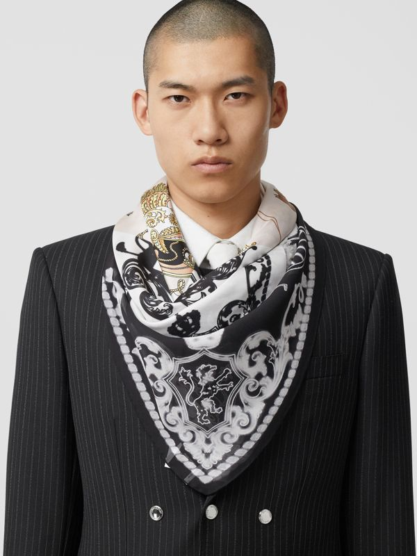 Archive Scarf Print Silk Large Square Scarf in Black/white | Burberry United Kingdom - cell image 3