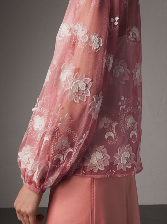 Puff-sleeve Embroidered Tulle Blouse in Rose Pink/white - Women | Burberry United Kingdom - cell image 1
