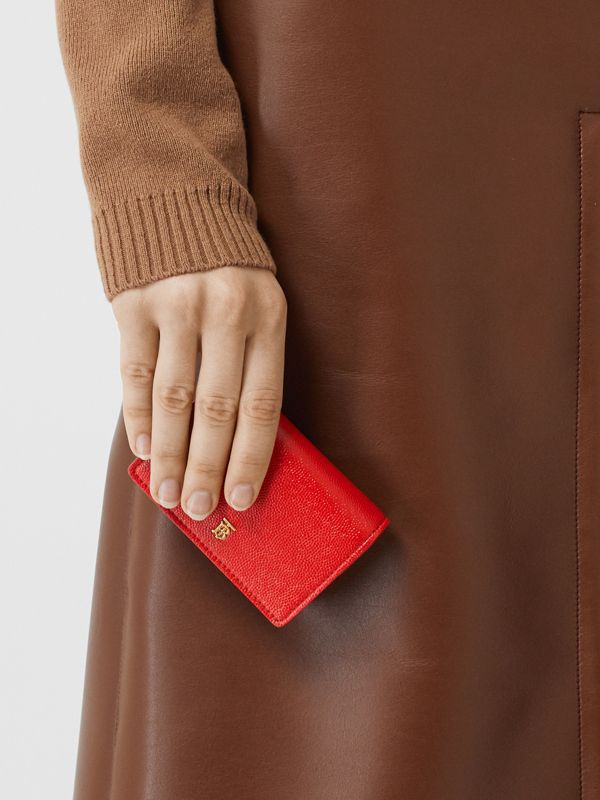 Grainy Leather Card Case with Detachable Strap in Bright Red - Women | Burberry - cell image 2