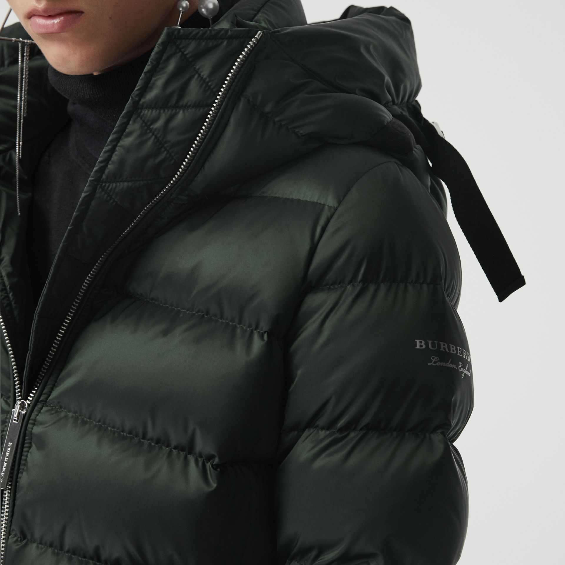 Down-filled Hooded Puffer Coat in Dark Racing Green - Women | Burberry - gallery image 1