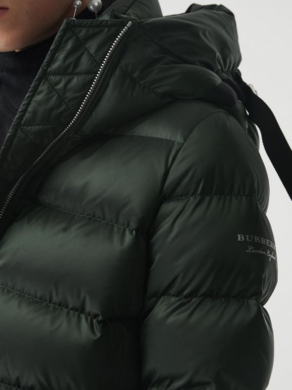 Down-filled Hooded Puffer Coat in Dark Racing Green - Women | Burberry - cell image 1