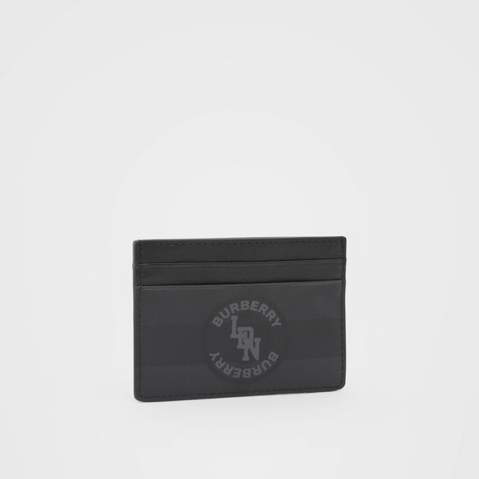 Logo Graphic London Check Card Case in Dark Charcoal - Men | Burberry - gallery image 3