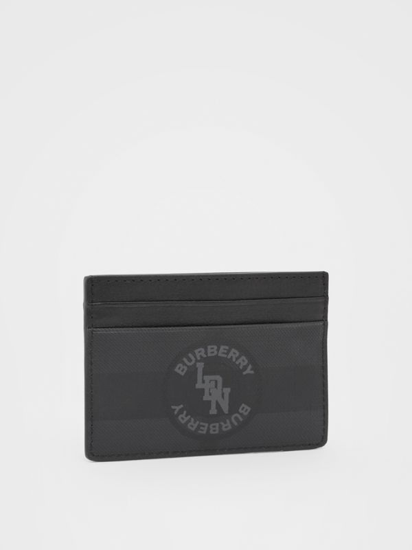 Logo Graphic London Check Card Case in Dark Charcoal - Men | Burberry - cell image 3