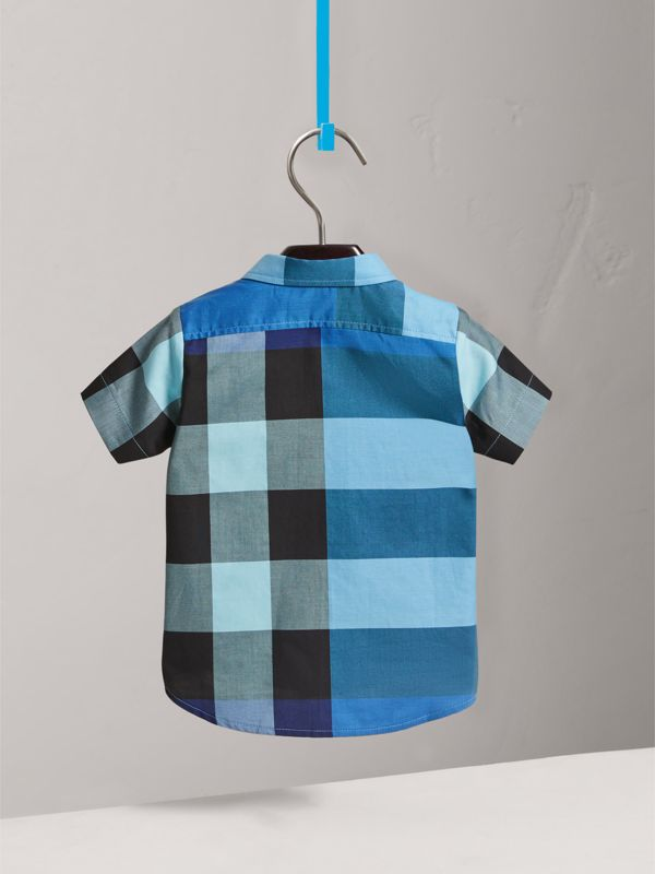 Short-sleeve Check Cotton Shirt in Light Azure | Burberry - cell image 3