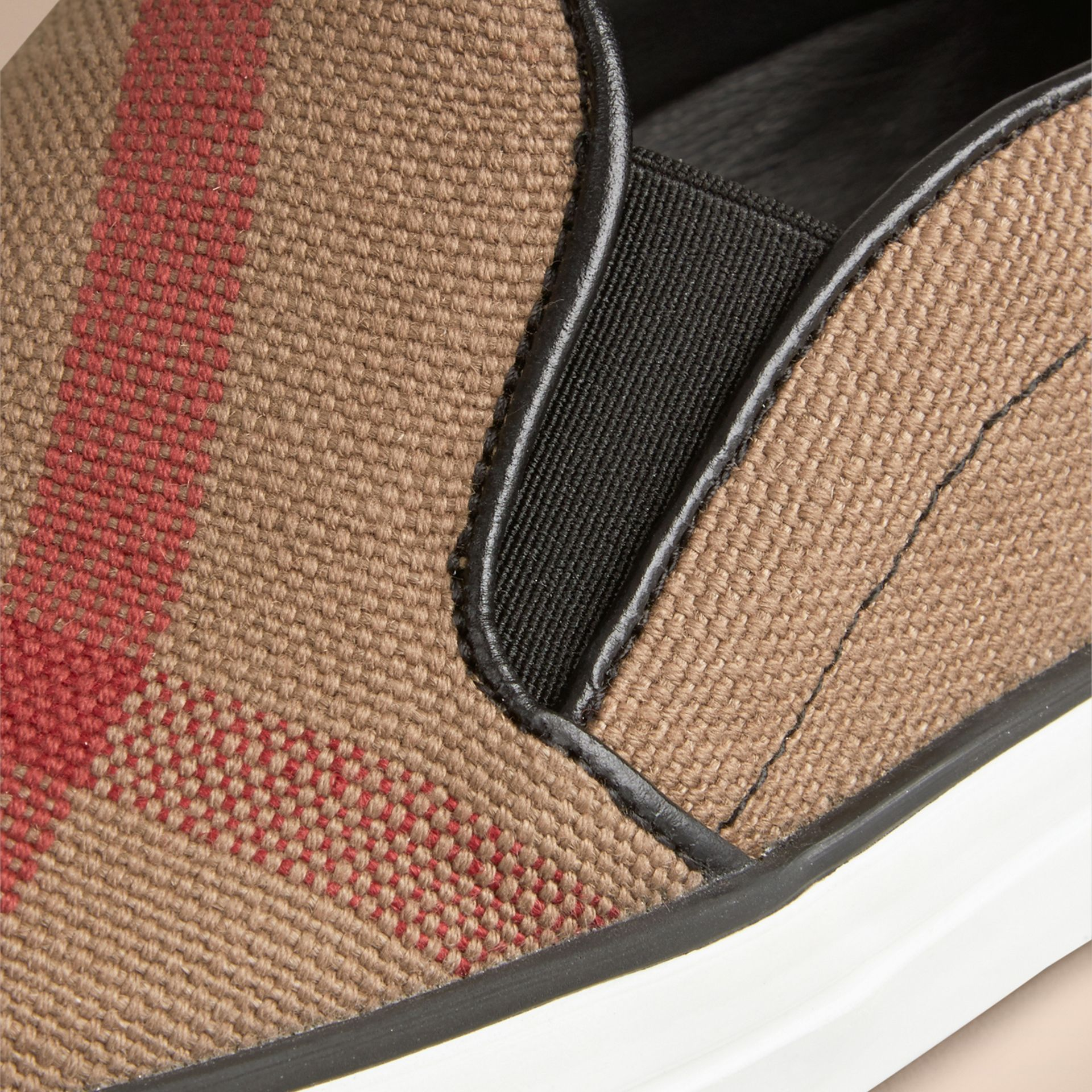 Black Canvas Check Slip-on Trainers - gallery image 2