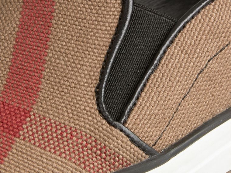 Black Canvas Check Slip-on Trainers - cell image 1