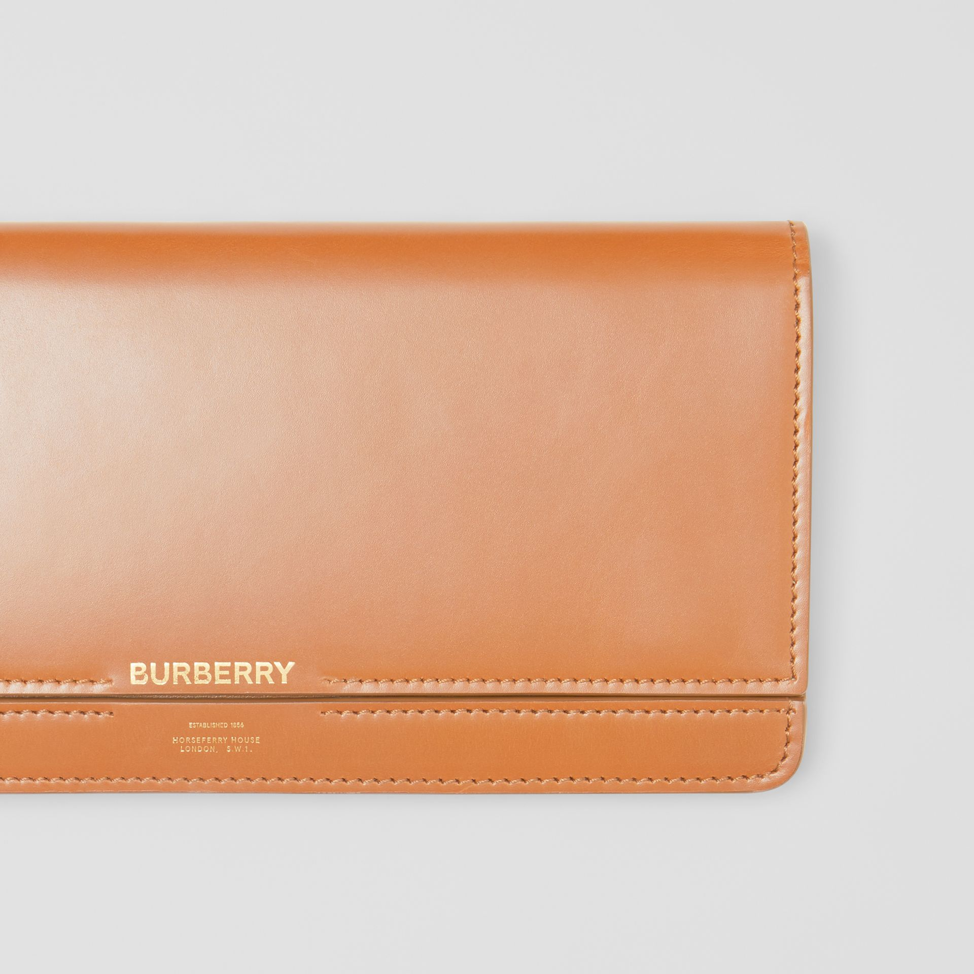 Horseferry Print Leather Bag with Detachable Strap in Nutmeg - Women | Burberry - gallery image 1