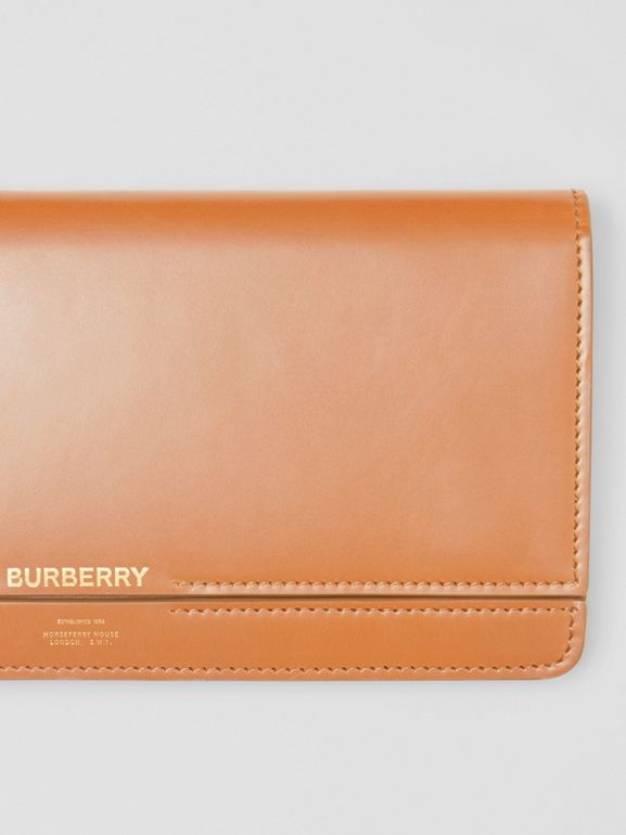 Horseferry Print Leather Bag with Detachable Strap in Nutmeg - Women | Burberry Singapore - cell image 1