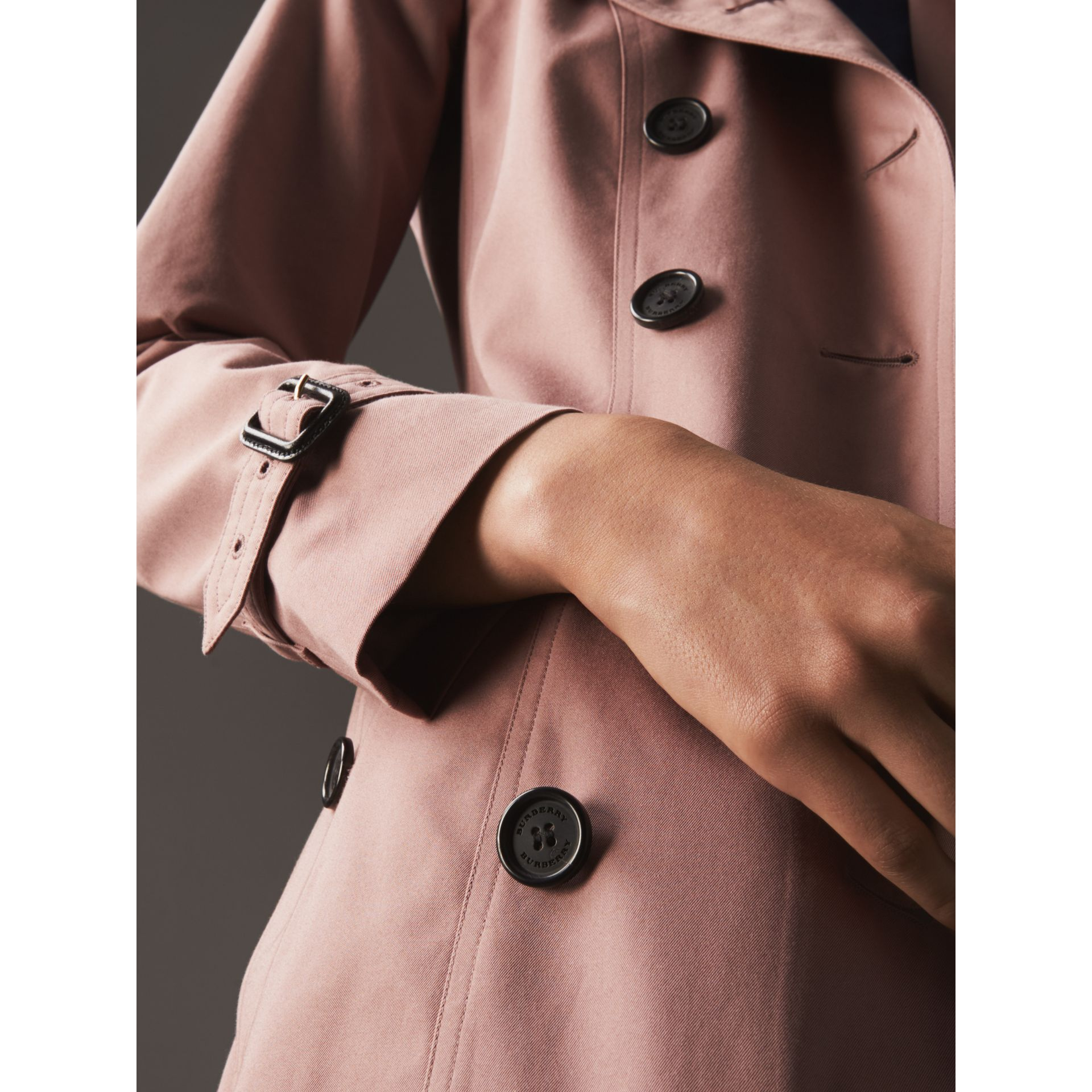 Cotton Gabardine Long Trench Coat in Blush - Women | Burberry - gallery image 5