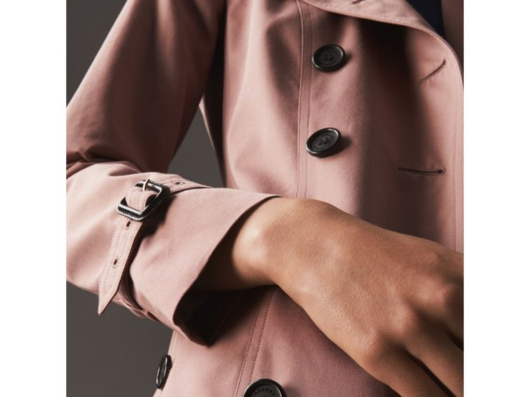 Cotton Gabardine Long Trench Coat in Blush - Women | Burberry - cell image 4