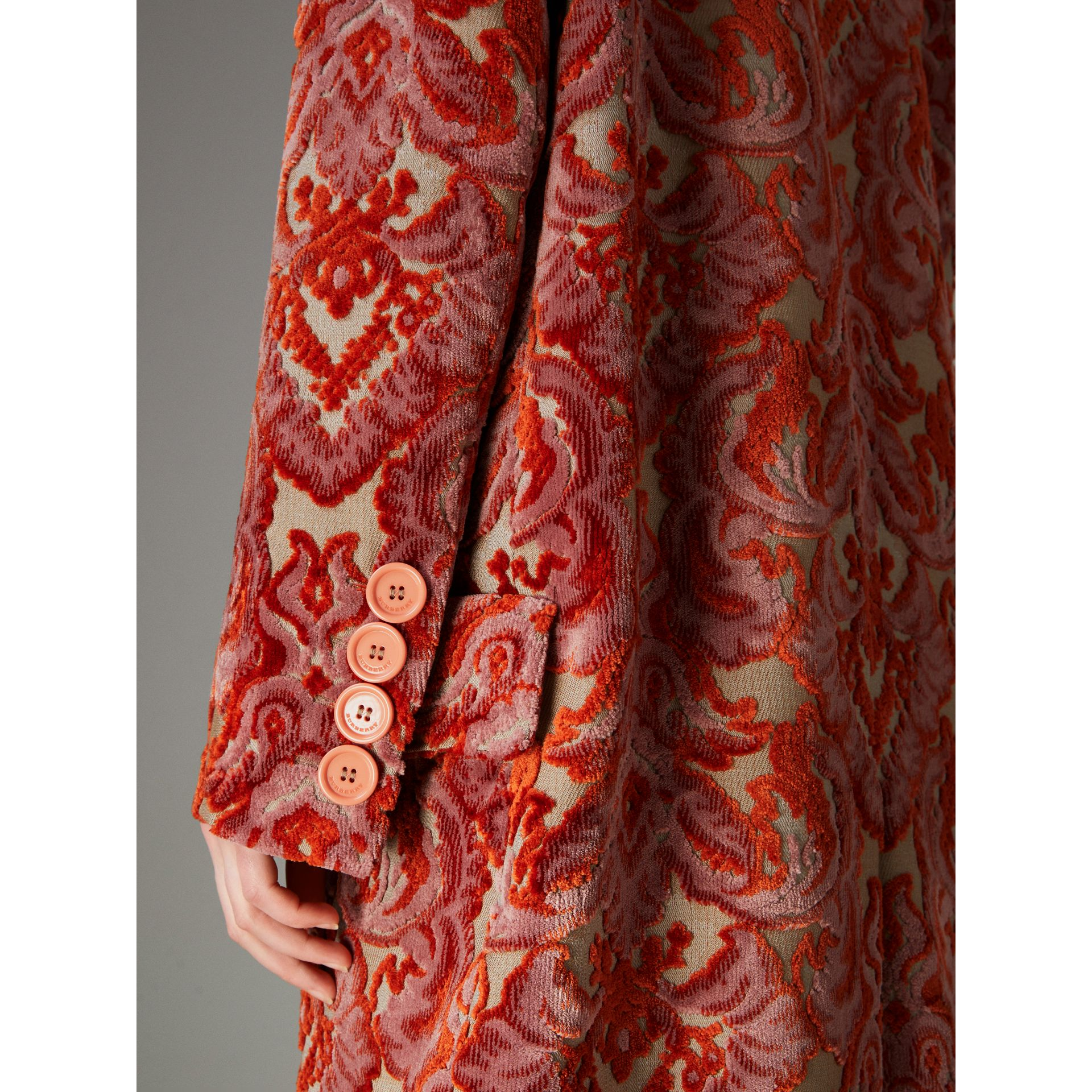 Damask Velvet Jacquard Tailored Coat in Rose Pink - Women | Burberry Australia - gallery image 1