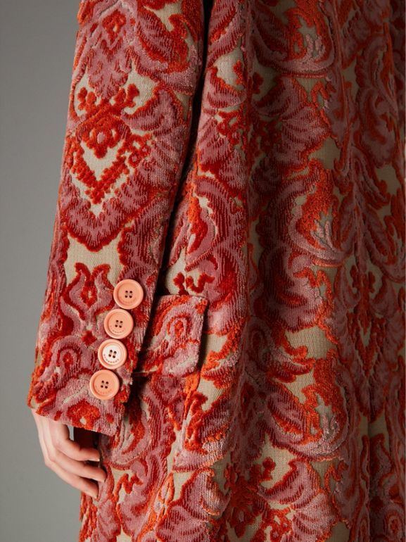 Damask Velvet Jacquard Tailored Coat in Rose Pink - Women | Burberry - cell image 1