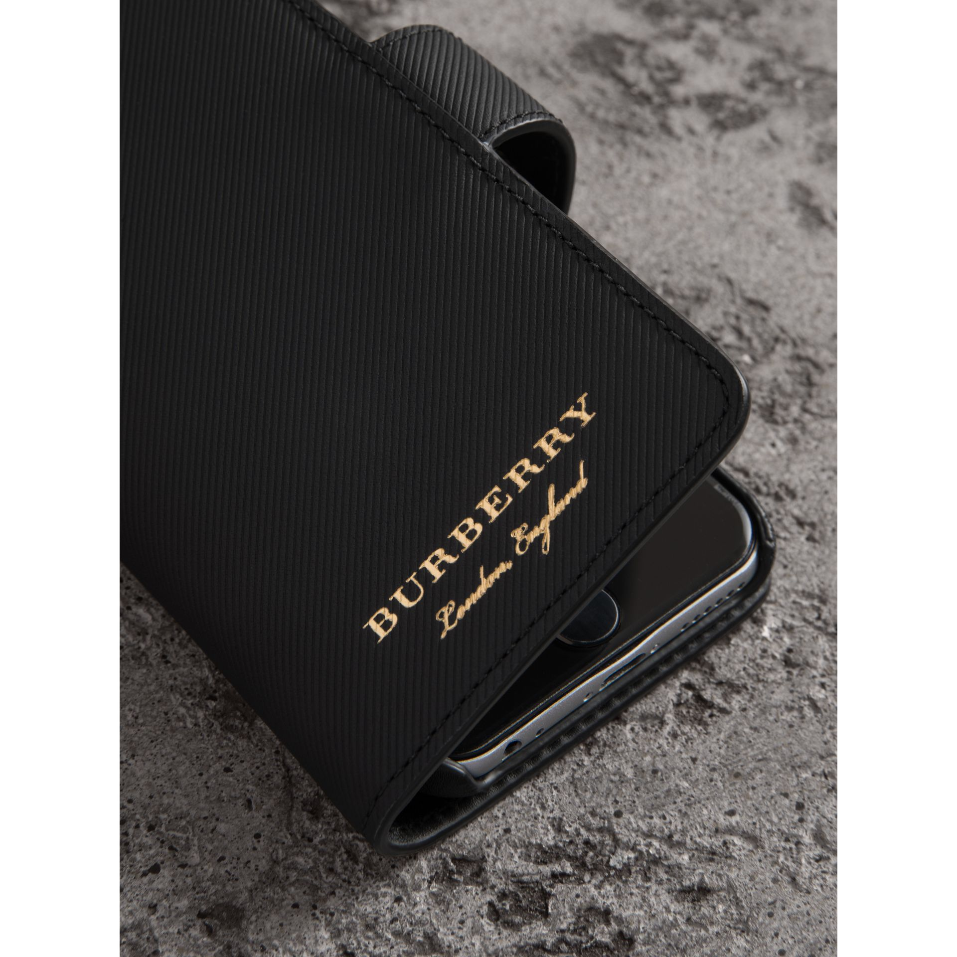 Trench Leather iPhone 7 Case in Black - Men | Burberry United States - gallery image 1