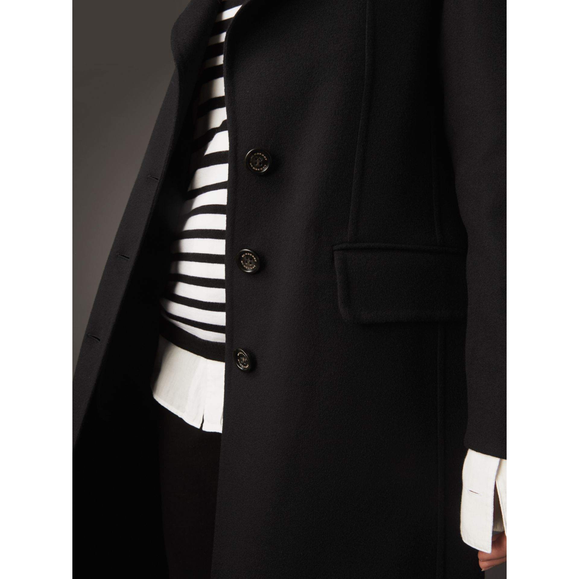 Ruffled Collar Wool Cashmere Coat in Black - Women | Burberry - gallery image 5