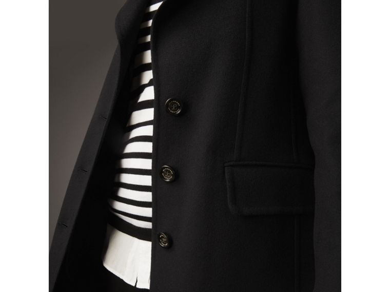 Ruffled Collar Wool Cashmere Coat in Black - Women | Burberry - cell image 4