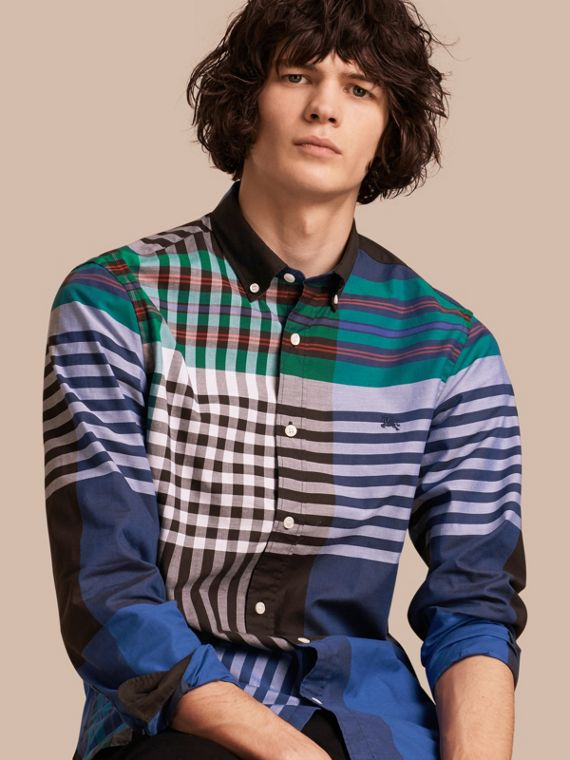Graphic Tartan Cotton Shirt Brilliant Blue