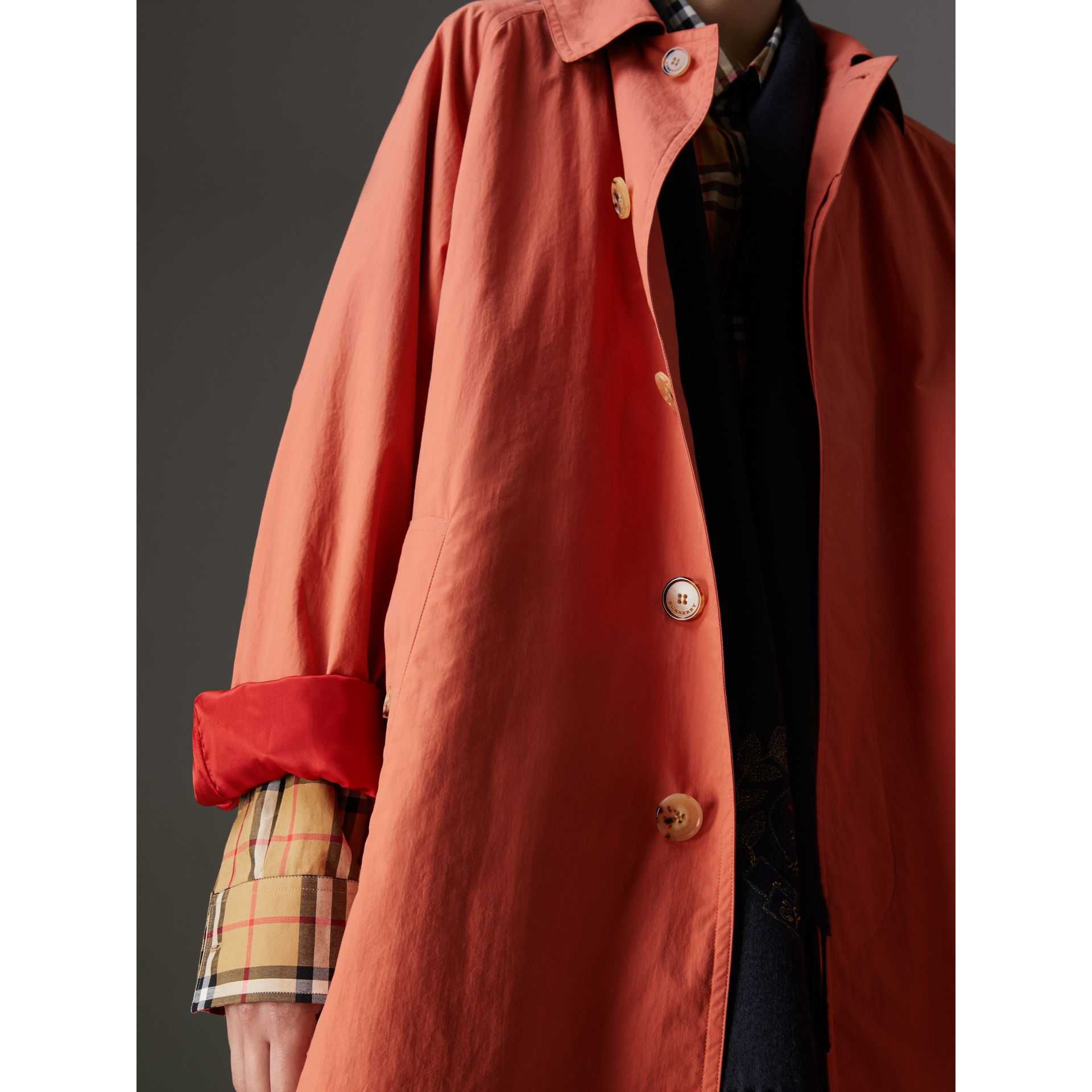 Reissued Cotton Car Coat with Detachable Warmer in Coral - Women | Burberry - gallery image 4