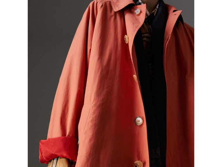 Reissued Cotton Car Coat with Detachable Warmer in Coral - Women | Burberry United Kingdom - cell image 4