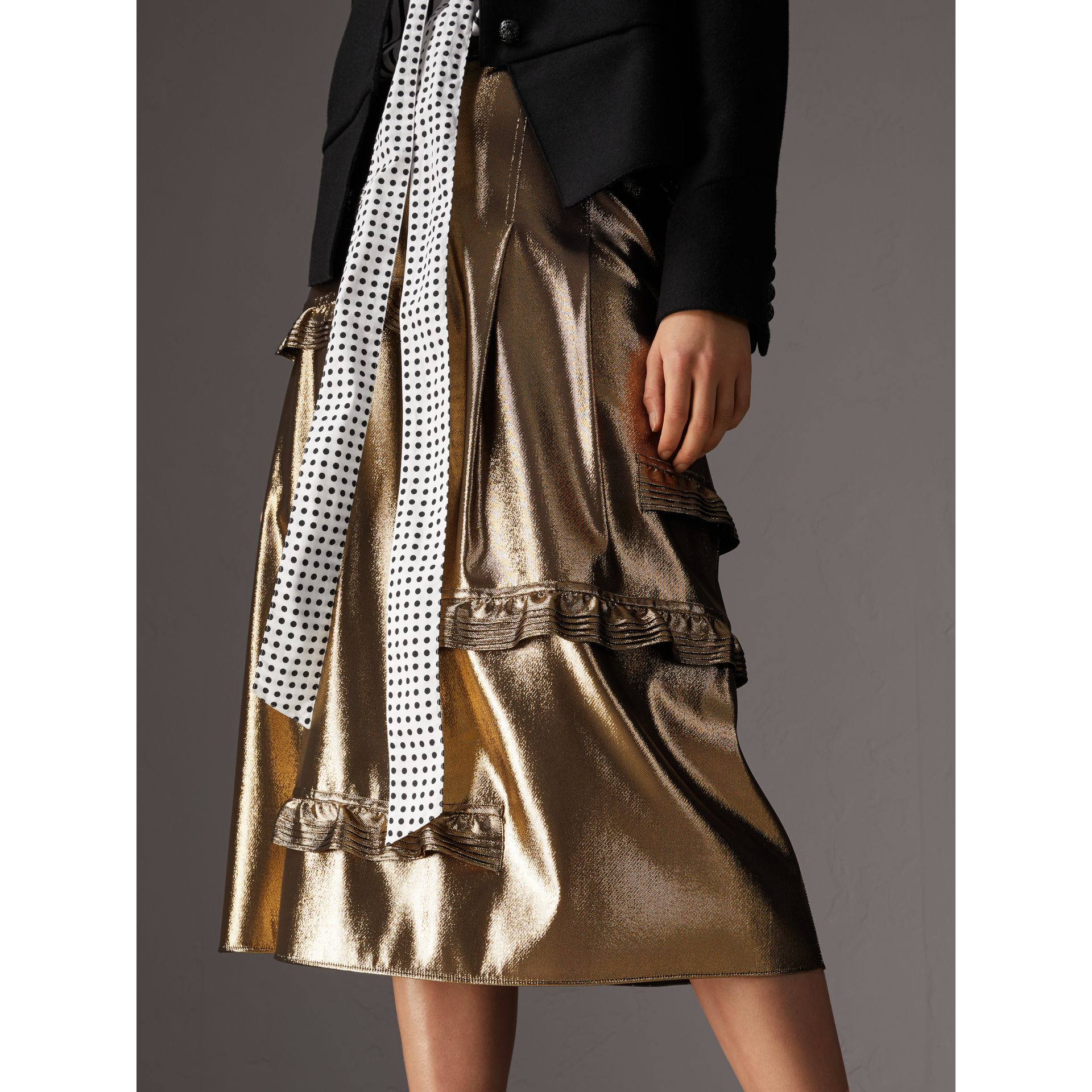 Ruffle Detail Lamé Skirt – Online Exclusive in Gold - Women | Burberry - gallery image 4