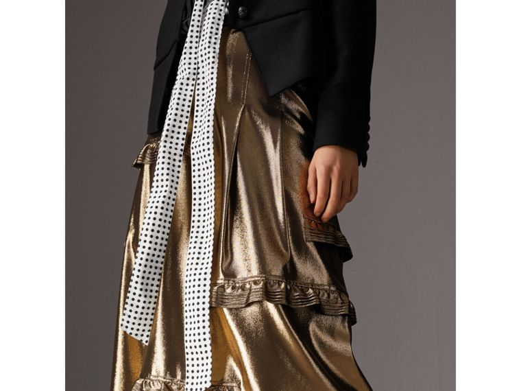 Ruffle Detail Lamé Skirt – Online Exclusive in Gold - Women | Burberry - cell image 4