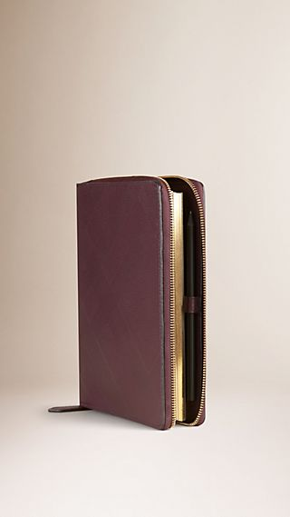 Ziparound Check-Embossed Leather A5 Notebook