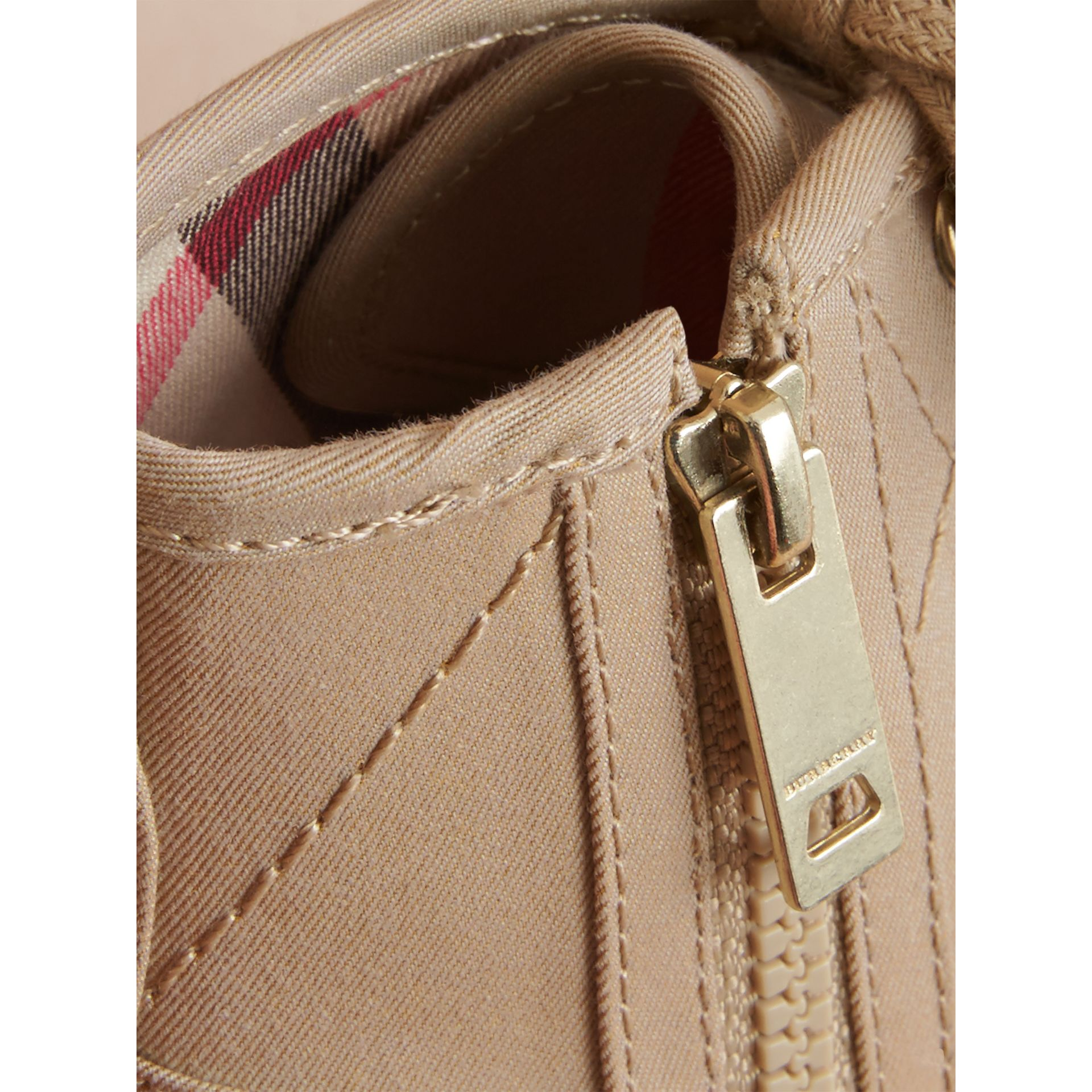 Topstitched Cotton Gabardine High-top Trainers in Honey | Burberry Hong Kong - gallery image 2
