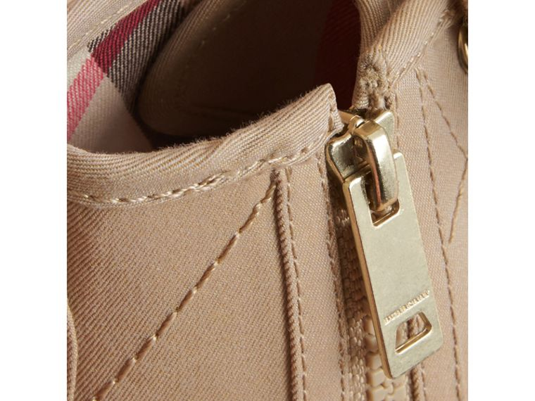 Topstitched Cotton Gabardine High-top Trainers in Honey | Burberry Hong Kong - cell image 1