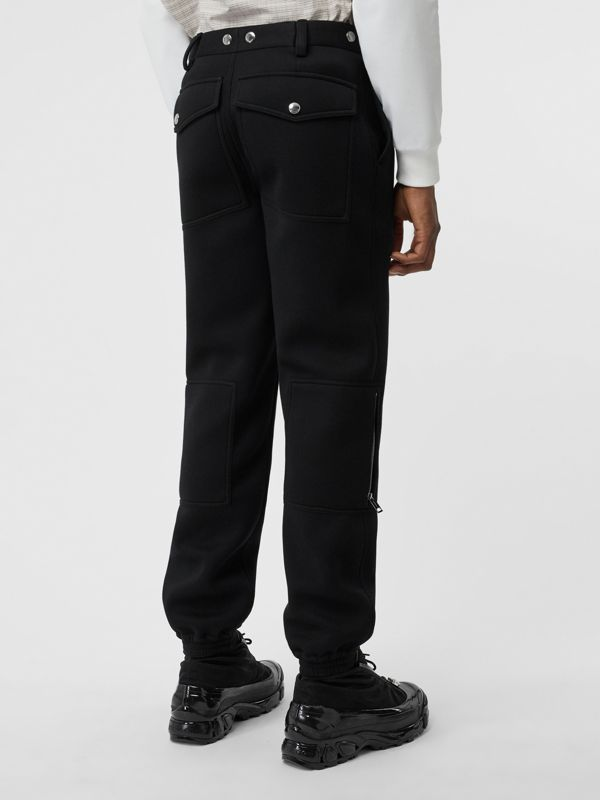 Press-stud Detail Neoprene Trousers in Black - Men | Burberry - cell image 2