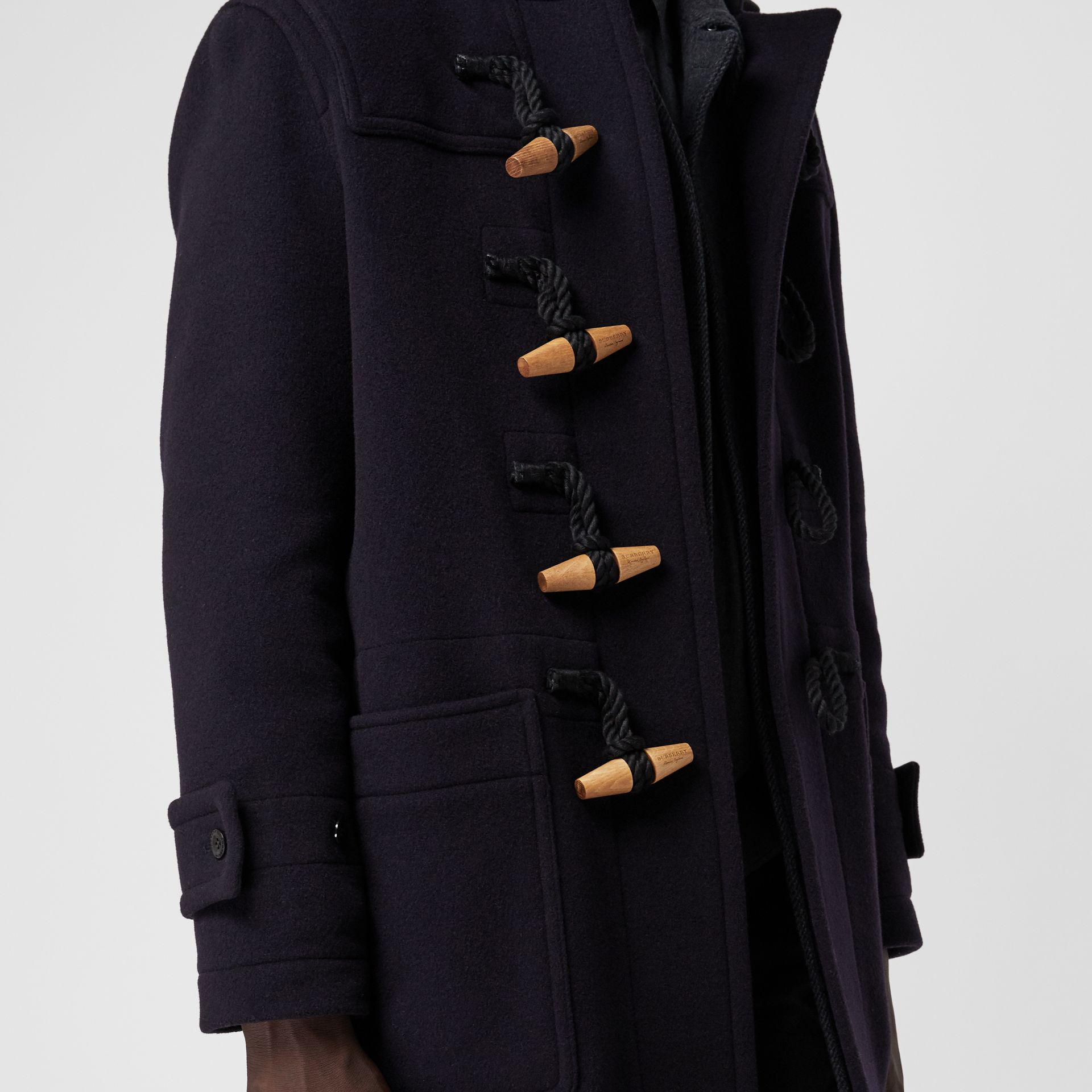 Vintage Check Detail Wool Blend Hooded Duffle Coat in Navy - Men | Burberry United Kingdom - gallery image 4