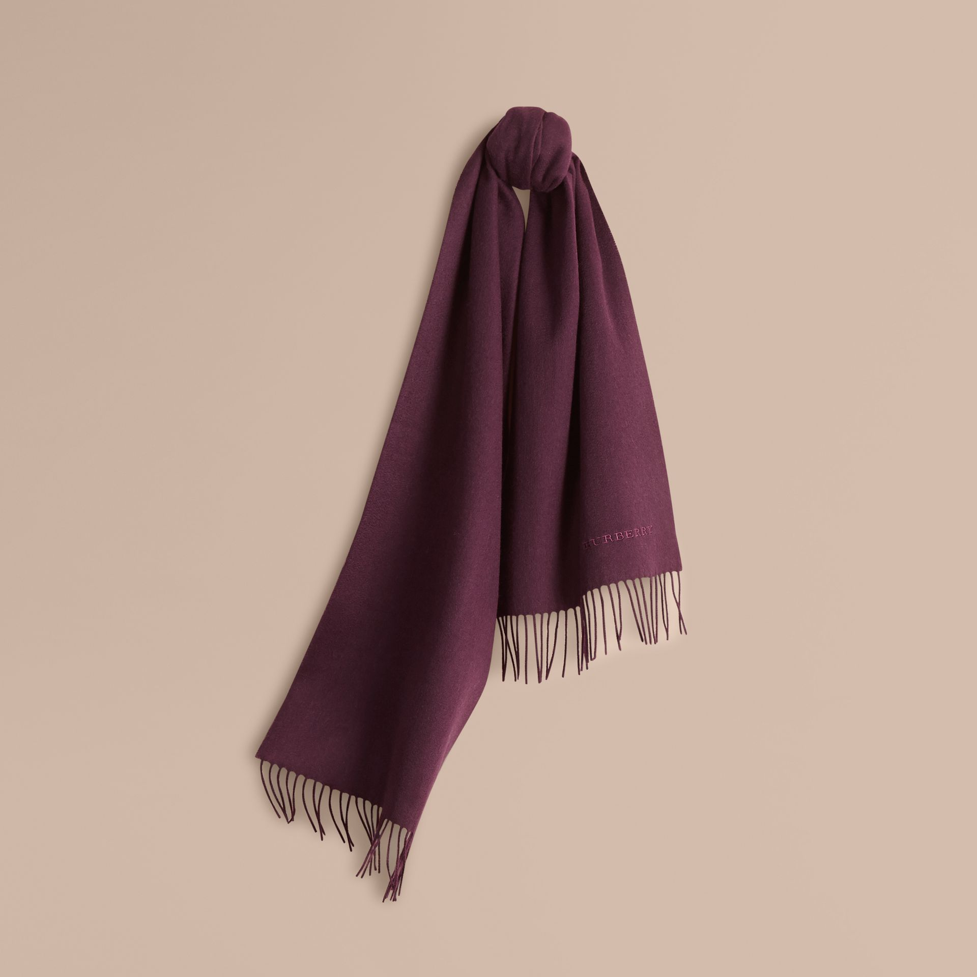 The Classic Cashmere Scarf in Aubergine - gallery image 6