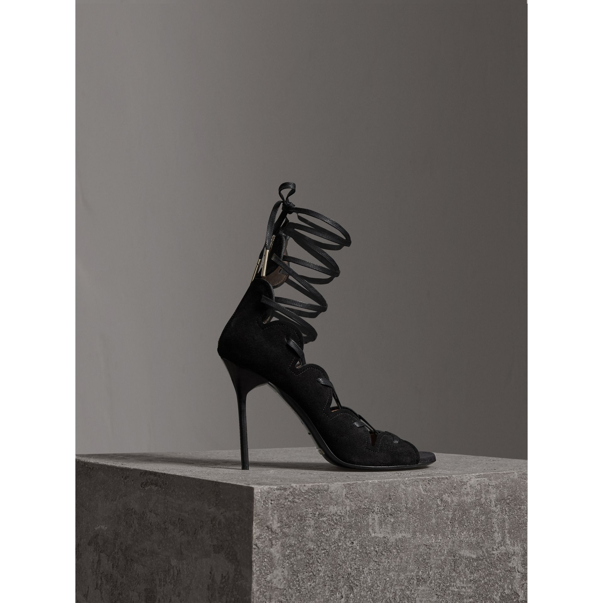 Scalloped Suede Lace-up Sandals in Black - Women | Burberry - gallery image 1