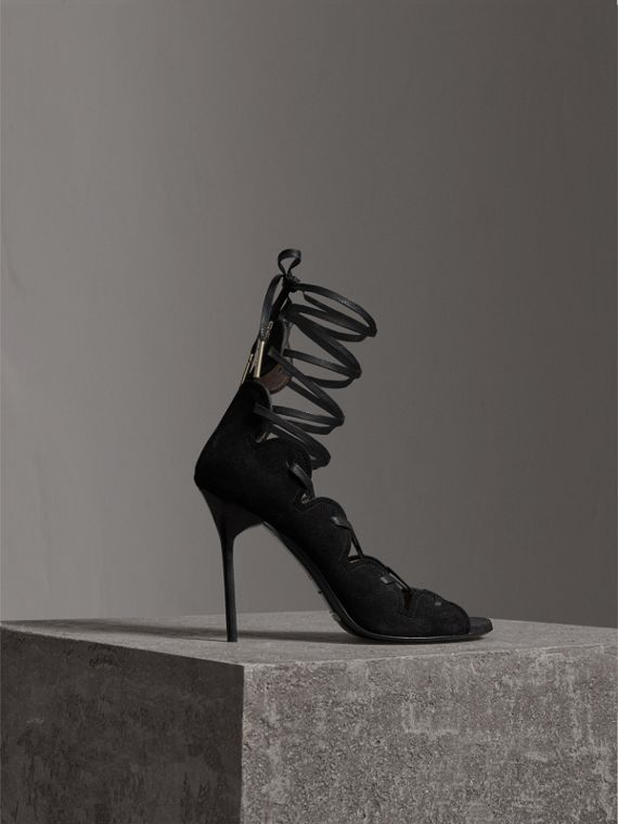 Scalloped Suede Lace-up Sandals in Black