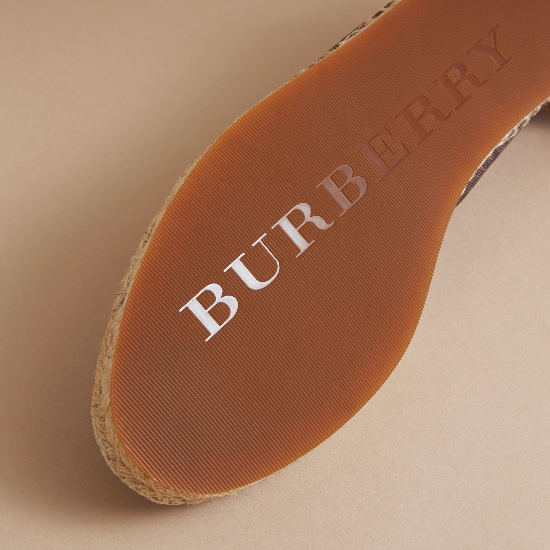 Check Linen Cotton Espadrilles in Cerise Purple - Women | Burberry Singapore - gallery image 5