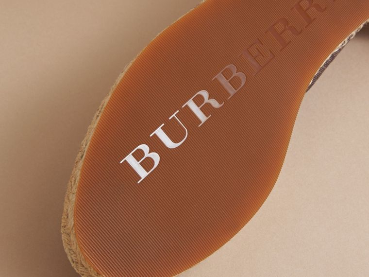 Check Linen Cotton Espadrilles in Cerise Purple - Women | Burberry Singapore - cell image 4
