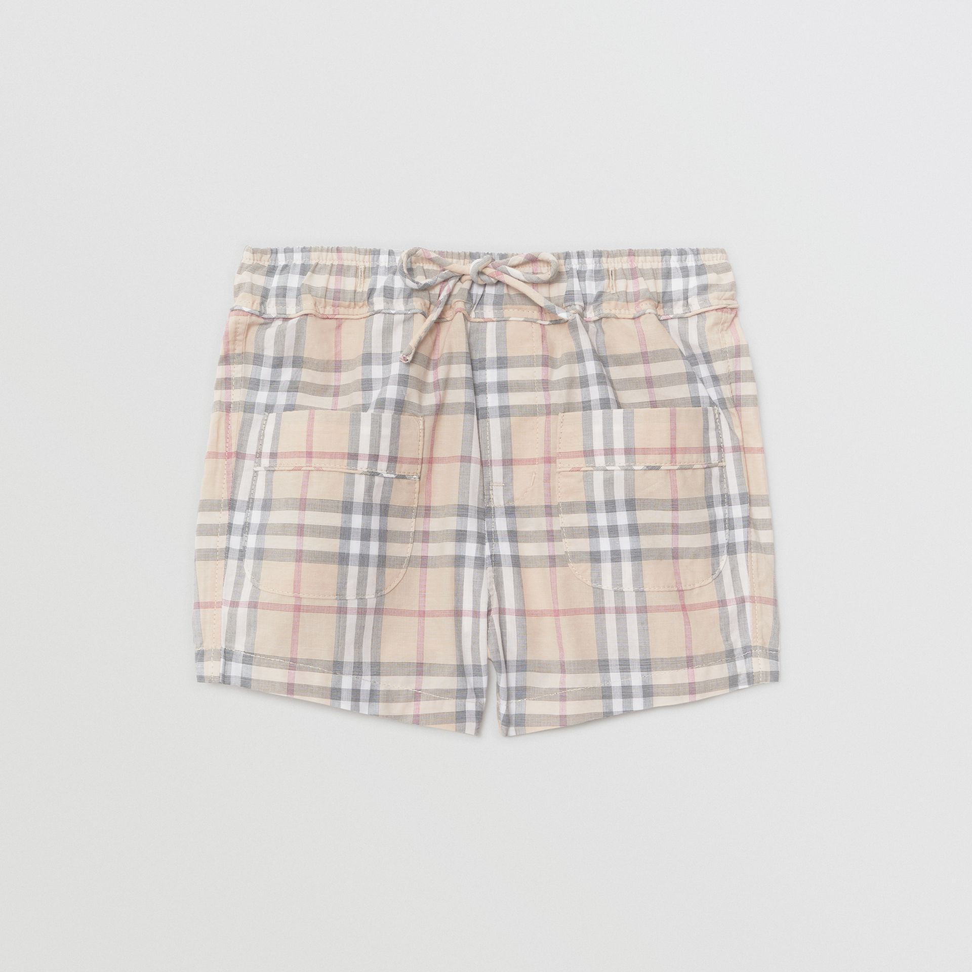 Check Cotton Shorts in Pale Stone - Children | Burberry Hong Kong - gallery image 0